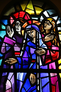 Station of the Cross, stained glass in Sainte Therese Basilica, Lisieux, Calvados, Normandy, France, Europe