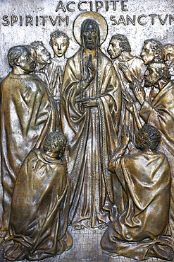 Christ's Appearance to the Disciples on the Holy door of St. Peter's Basilica, cast in bronze by Vico Consorti in 1949, Vatican, Rome, Lazio, Italy, Europe