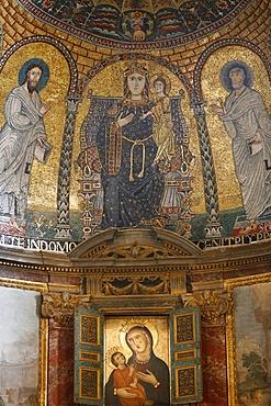 Mosaic of Mary and Jesus, Santa Francesca Romana church, Rome, Lazio, Italy, Europe