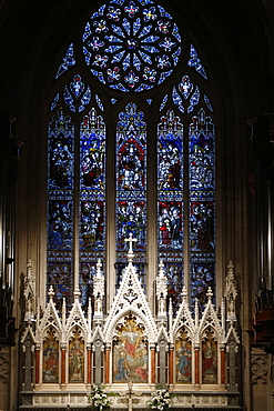 The East window over the high altar created by Clayton and Bell in 1878, Grace Church Episcopal, New York, United States of America, North America