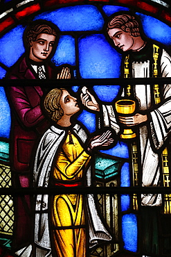 Stained glass window depicting Holy Communion, St. Barth's Church, New York, United States of America, North America