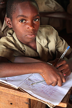 Portrait of an African schoolboy, Hevie, Benin, West Africa, Africa