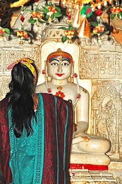 Depiction of Rishabha in Jain temple dating from the 12th century, Temple of Adinath (Rishabha), Jaisalmer, Rajasthan, India, Asia