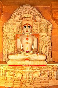 Depiction of Rishabha in Jain temple of Adinath (Rishabha), dating from the 12th century, Jaisalmer, Rajasthan, India, Asia
