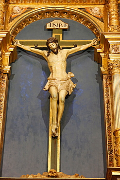 Crucifix in the Mosque (Mezquita) and Cathedral of Cordoba, UNESCO World Heritage Site, Cordoba, Andalucia, Spain, Europe