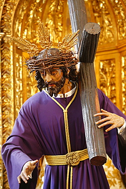 Sculpture of Jesus carrying the cross in a Cordoba church, Cordoba, Andalucia, Spain, Europe