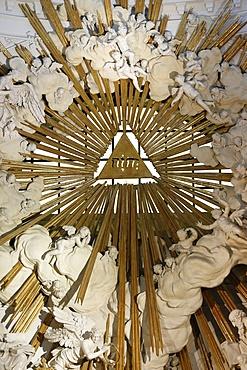 The Hebrew Tetragrammaton/Yahweh symbolizes God's omnipotence and simultaneously, Karlskirche (St. Charles's Church), Vienna, Austria, Europe