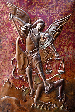 Depiction of the Archangel St. Michael slaying the dragon, St. Anne's Basilica, Brazzaville, Congo, Africa