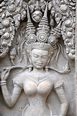 Cast of apsara from Angkor Wat western entrances central tower's gate, Musee Guimet, Museum of Asian Arts, Paris, France, Europe