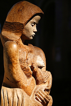 Wood sculpture of Virgin and Child, Paris, France, Europe
