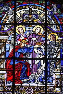 Stained glass by Jacques Gruber, Notre Dame de Brebieres basilica, Albert, Somme, France, Europe