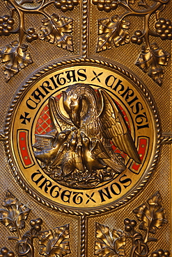 Pelican symbolising Christ, Notre Dame de la Treille Cathedral, Lille, Nord, France, Europe