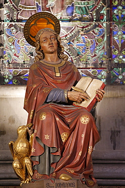 St. John the Evangelist statue, Notre Dame de la Treille Cathedral, Lille, Nord, France, Europe