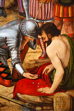 Detail of the Crucifixion by Andrea di Bartolo, painted in 1495, of two Roman soldiers gambling the Christ's tunic by throwing dice, Paris, France, Europe