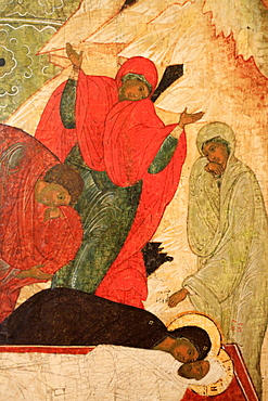 Sixteenth century painting of the The Entombment by Pskov, Russian Museum, St. Petersburg, Russia, Europe