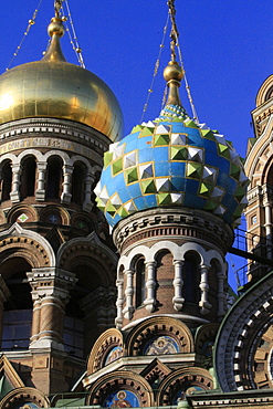 Domes. Church of our Saviour on Spilled Blood (Church of Resurrection), St. Petersburg, Russia, Europe