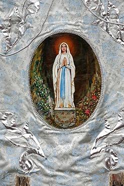 Pilgrimage banner, Lourdes, Hautes Pyrenees, France, Europe