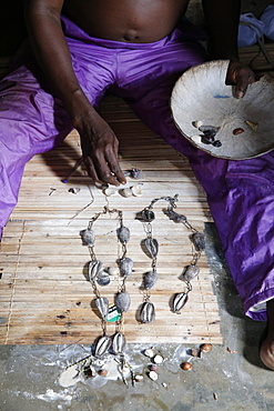 Rosary made of cowries used in divination in the house of the Fa in Ouidah, Benin, West Africa, Africa