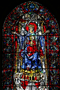 Stained glass window of Our Lady of Strasbourg by Max Ingrand, Our Lady of Strasbourg Cathedral, Strasbourg, Alsace, France, Europe