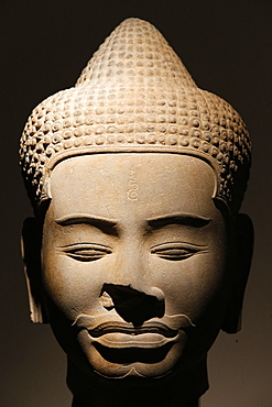 Sandstone head, Baphuon style dating from the 11th century from Siem Reap, Cambodia, Guimet Museum, Paris, France, Europe