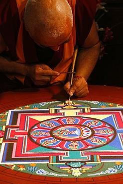 Buddhist sand Mandala, a spiritual and ritual symbol representing the Universe, Paris, France, Europe