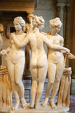 The Three Graces, dating from the second century AD, marble, Louvre Museum, Paris, France, Europe