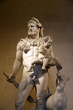 Statue of Heracles and Telephos dating from the second century AD from Tivoli, Italian marble, Louvre Museum, Paris, France, Europe