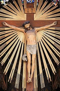 Jesus on the cross, Maria am Gestade church (Mary at the Shore), Vienna, Austria, Europe