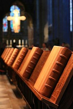 Choir stalls, Antiphonary, Heiligenkreuz Abbey, Vienna, Austria, Europe
