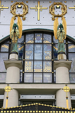 Statues of angels designed by Othmar Schimkowitz in front of the window, a work of Kolo Moser called the Fall, Steinhof Church built by Otto Wagner between 1902 and 1907, Vienna, Austria, Europe