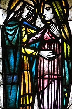 Stained-glass window of The Visitation, St. Petrus and St. Paulus Church, Knokke-Heist, Belgium, Europe