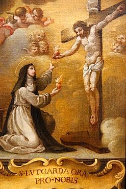 Jesus Christ and Lutgarde de Tongres exchanging hearts, 17th century, Belgian, Hieron Museum, Paray-Le-Monial, Saone-et-Loire, Burgundy, France, Europe