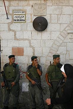 Israeli soldiers on Via Dolorosa, Jerusalem, Israel, Middle East