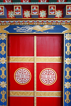Pagoda door, Temple of the Thousand Buddhas, Dashang Kagyu Ling congregation, La Boulaye, Saone-et-Loire, Burgundy, France, Europe