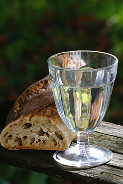 Bread and a glass of water during Lent, Haute-Savoie, France, Europe
