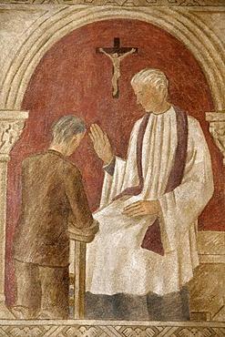 Fresco of Holy Confession in Sainte Genevieve's Cathedral, Nanterre, Hauts-de-Seine, France, Europe