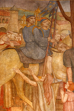 Fresco painted by Paul Lemasson in 1927, of Sainte Genevieve's reliquary carried in procession, Sainte Genevieve's Cathedral, Nanterre, Hauts-de-Seine, France, Europe