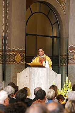 Bishop Michel Aupetit at Catholic Mass in Sainte Genevieve's Cathedral, Nanterre, France, Europe