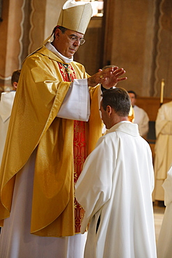 Bishop Michel Aupetit conducting deacon ordination in Sainte Genevieve's cathedral, Nanterre, France, Europe