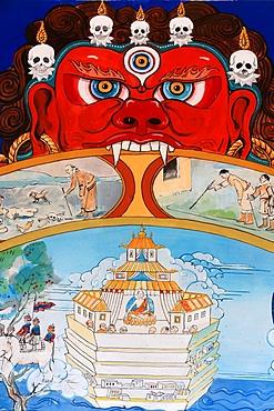 Wheel of Samsara, Dashang Kagyu Ling congregation, Temple of the Thousand Buddhas, La Boulaye, Bourgogne, France, Europe