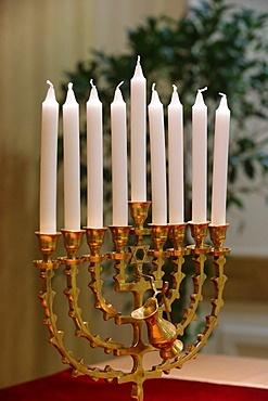 Hanukkha with nine candles, Paris, France, Europe