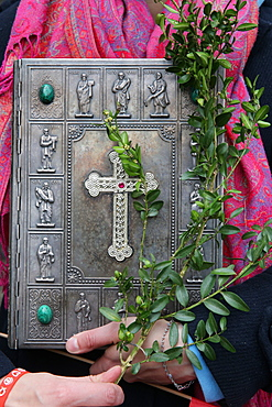 Old Bible, Palm Sunday, Holy Week, La Roche-sur-Foron, Haute-Savoie, France, Europe
