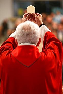 Eucharist celebration in a Roman Catholic church, La Roche-sur-Foron, Haute-Savoie, France, Europe
