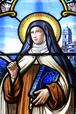 Stained glass window of St. Therese of Lisieux, Shrine of Our Lady of La Salette, La Salette-Fallavaux, Isere, France, Europe
