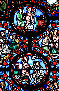 Stained glass from the 13th century of Jesus Christ, Chapel of Our Lady, Beauvais Cathedral, Picardy, France, Europe