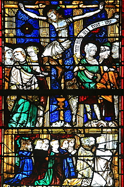 Stained glass from the 13th century of the  Crucifixion, Chapel St. Vincent and Our Lady of Lourdes, Beauvais Cathedral, Picardy, France, Europe