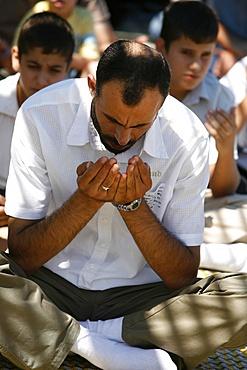 Palestinians praying on Friday, Nazareth, Galilee, Israel, Middle East