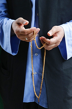 Naqshbandi Muslim praying with prayer beads, Lefke, Cyprus, Europe