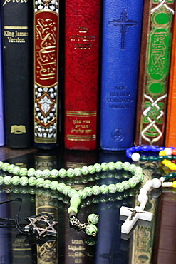 Bibles and Quran, interfaith symbols of Christianity, Islam and Judaism, the three monotheistic religions, Haute-Savoie, France, Europe