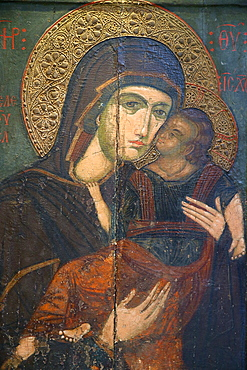 Icon of the Virgin Eleousa, dating from the 14th century, in Pedoulas Byzantine Museum, Pedoulas, Cyprus, Europe